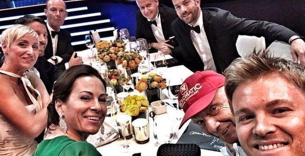 Mercedes team selfie