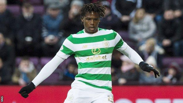 Dedryck Boyata in action for Celtic against Hearts