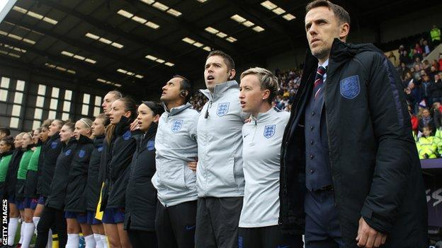 England women's manager Phil Neville, right, and the team ahead of an international against Brazil at Meadow Lane in Nottingham last October