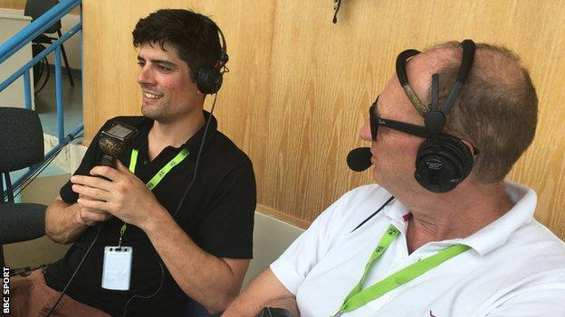 Former England captain Alastair Cook (left) speaks on air with BBC cricket correspondent Jonathan Agnew (right)
