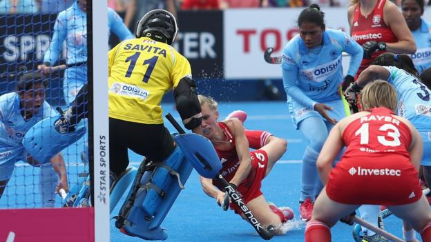Alex Danson of England shoots at goal during the Pool B game between England and India of the FIH Womens Hockey World Cup at Lee Valley Hockey and Tennis Centre
