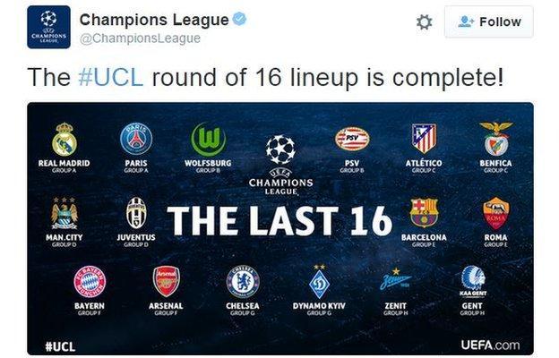 Champions League tweet