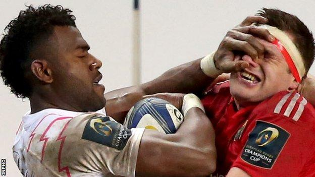 Josaia Raisuqe of Stade Francais got a red card for this incident with Munster's CJ Stander