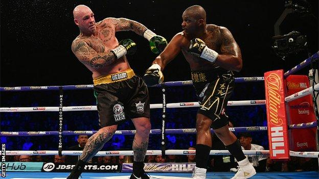Whyte found plenty of success with his right and ended the bout with a powerful left hook