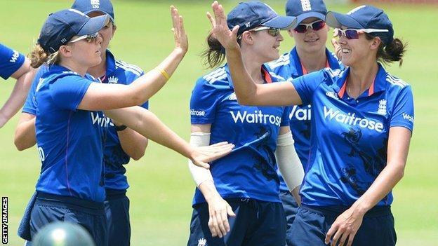 England women celebrate a wicket
