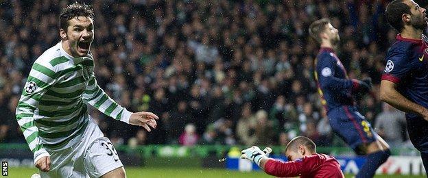 Tony Watt scores against Barcelona