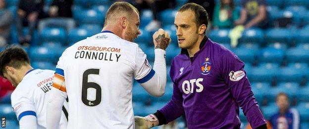 Kilmarnock players Mark Connolly and Jamie MacDonald