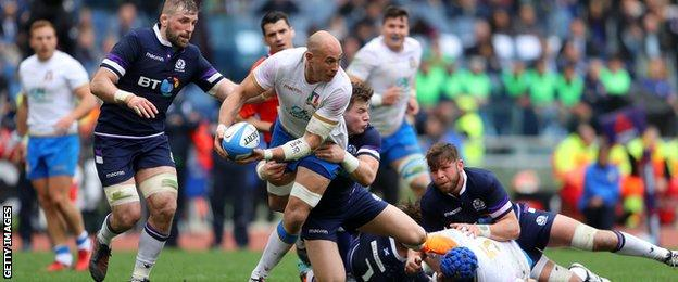 Sergio Parisse in action for Italy against Scotland