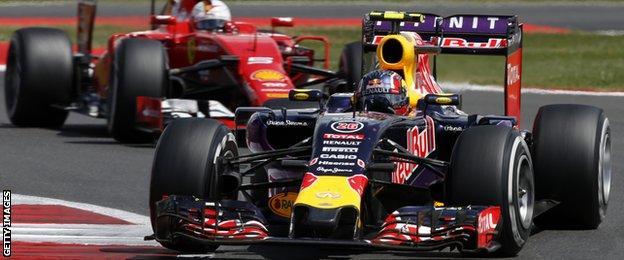 Ferrari's Sebastian Vettel and Red Bull's Daniil Kvyat