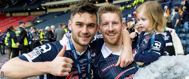 County scorers Alex Schalk and Michael Gardyne celebrate the Staggies' first major cup win
