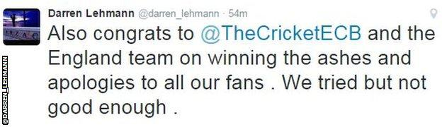 Darren Lehmann tweet