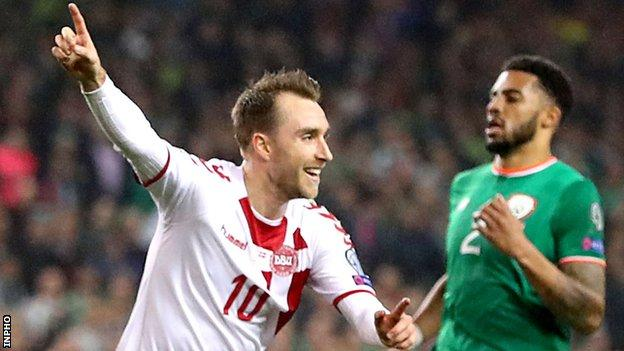 Christian Eriksen celebrates after scoring for Denmark in last year's World Cup play-off 5-1 hammering of the Republic of Ireland