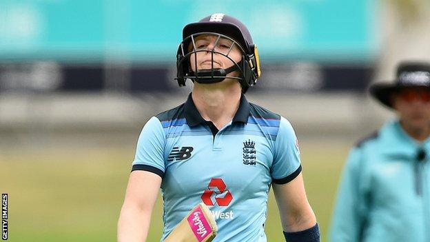 England captain Heather Knight reacts after being dismissed in the third ODI against New Zealand