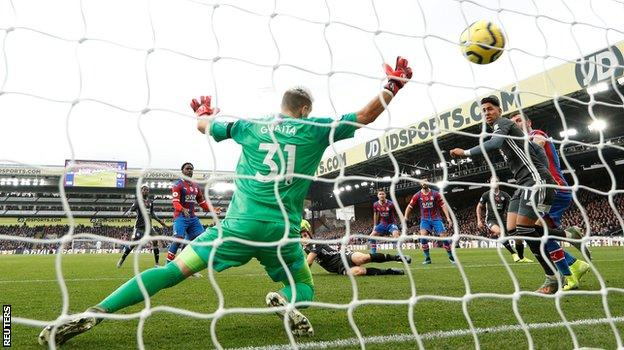 Caglar Soyuncu heads Leicester in front against Palace