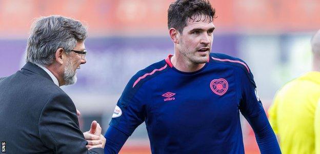 Hearts manager Craig Levein congratulates scorer Kyle Lafferty
