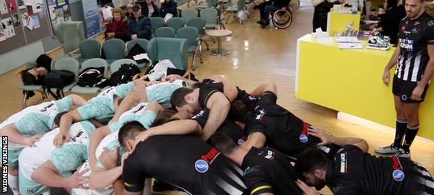 Widnes Vikings scrumming down at at urgent care centre