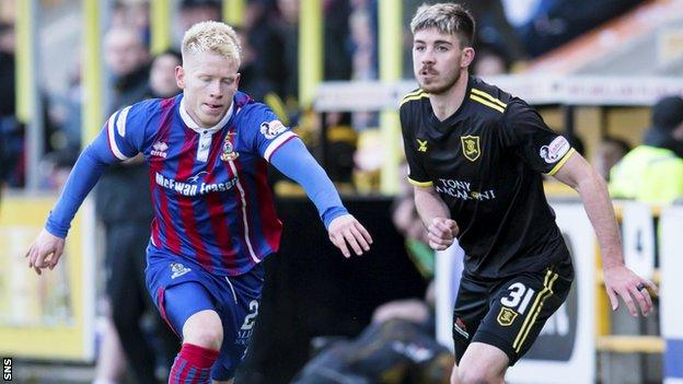 Inverness Caley's Connor Bell and Livingston's Declan Gallagher