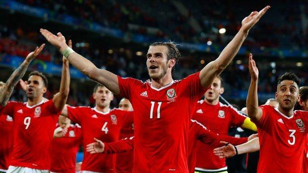 Gareth Bale (centre) celebrates with Wales team-mates