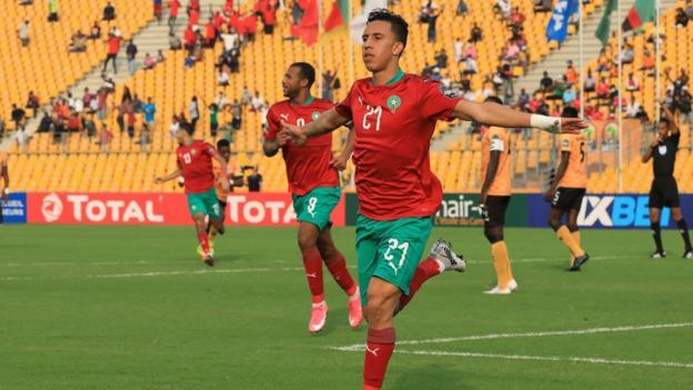 Morocco's Soufiane Rahimi celebrates opening the scoring in Douala