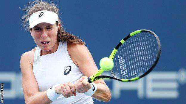 Johanna Konta plays a shot in round one at the Connecticut Open