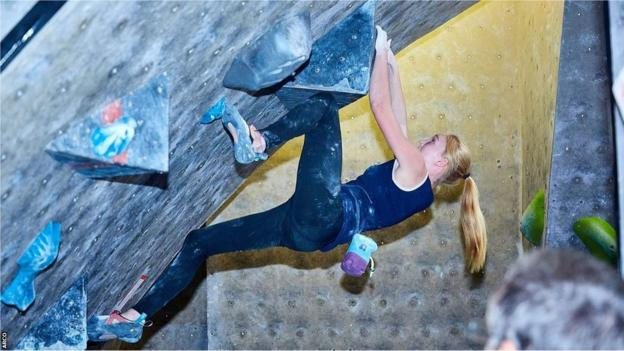 South African climber Erin Sterkenburg in action on a climbing wall