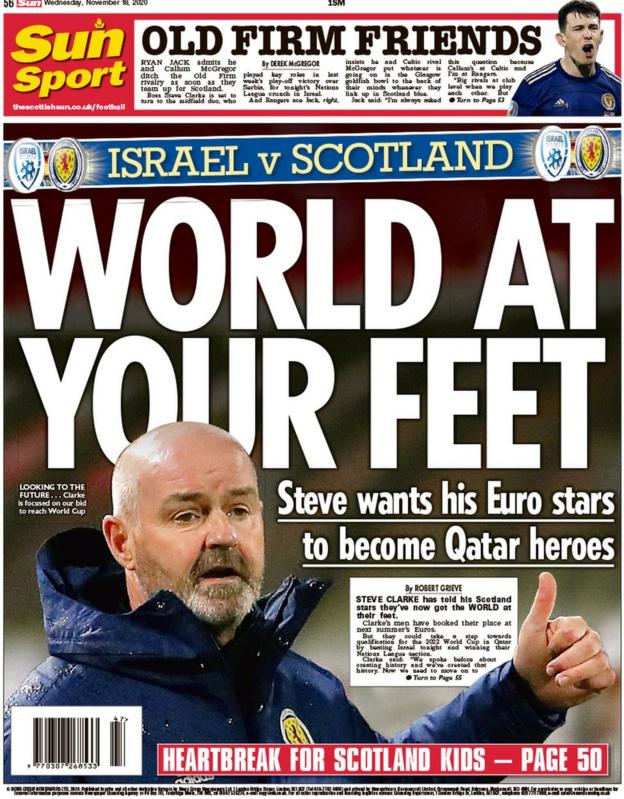 The back page of the Scottish Sun on 181120