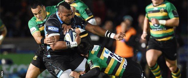 Glasgow Warriors' Taqele Naiyaravoro is tackled