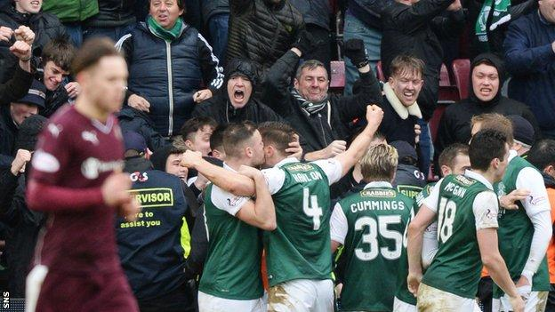 Hibs players celebrate with their fans
