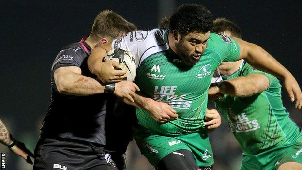 Connacht prop Rodney Ah You in action against Sam Parry of the Ospreys in Galway