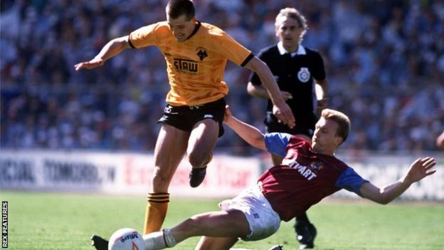 Steve Bull in action for Wolves against Burnley in the 1988 Sherpa Van Trophy final