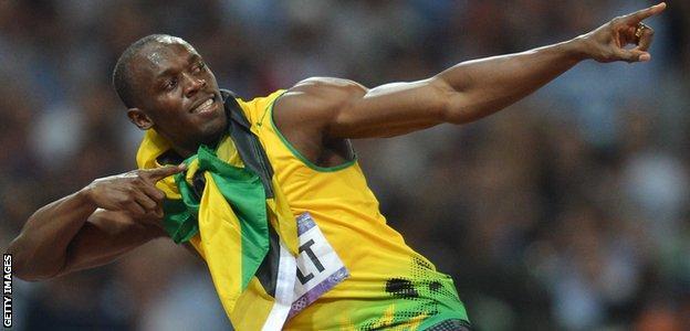 Usain Bolt, lightning bolt, 2012