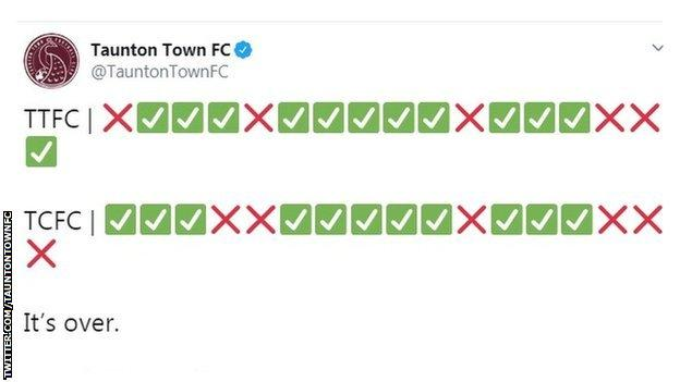 Taunton Town Twitter feed of penalty shootout