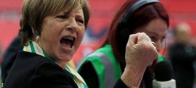 Norwich owner Delia Smith watched her team win promotion via the play-offs