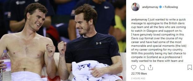 Andy Murray's Instagram post in which he apologises to Davis Cup fans for not competing in Glasgow next week. It shows a picture of him fist-pumping his brother Jamie.