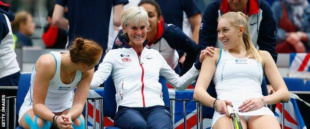 Judy Murray (centre) is Great Britain's Fed Cup captain