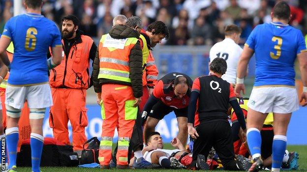 Ben Youngs is treated in Rome