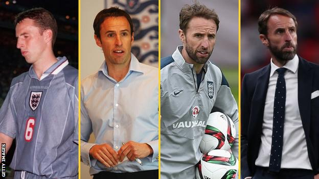 Gareth Southgate (left to right) - in different England roles in 1996, 2011, 2015 and 2021