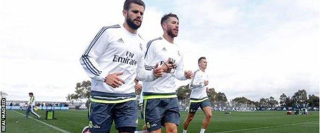 Sergio Ramos, centre, training with Madrid on their pre-season tour of Australia