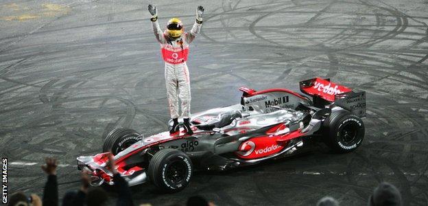 British F1 driver Lewis Hamilton wins World Championship in 2008