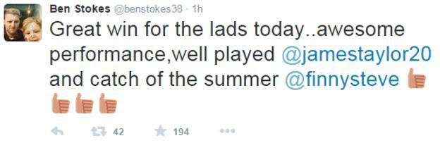 Ben Stokes tweet