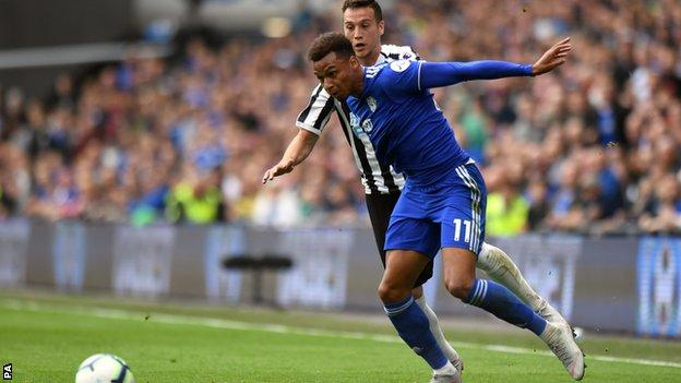 Josh Murphy in action for Cardiff City against Newcastle