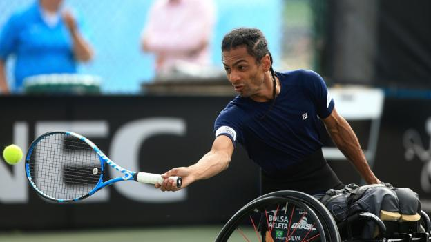 Wheelchair Tennis - NOTTINGHAM, ENGLAND - JULY 18: Ymanitu Silva of Brazil plays a forehand during his match against Andy Lapthorne of Great Britain on day two of The British Open Wheelchair Tennis Championships at Nottingham Tennis Centre on July 18, 2018 in Nottingham, England. (Photo by Ben Hoskins/Getty Images for Tennis Foundation)