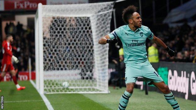 Pierre Emerick Aubameyang celebrates goal