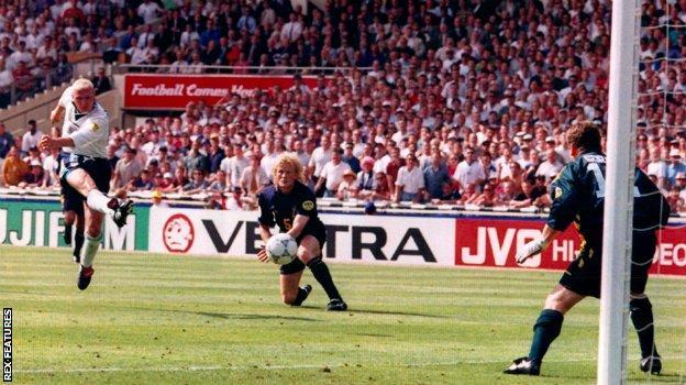 Paul Gascoigne scores England's second goal against Scotland