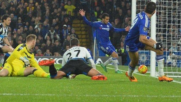 Diego Costa scores Chelsea's first goal