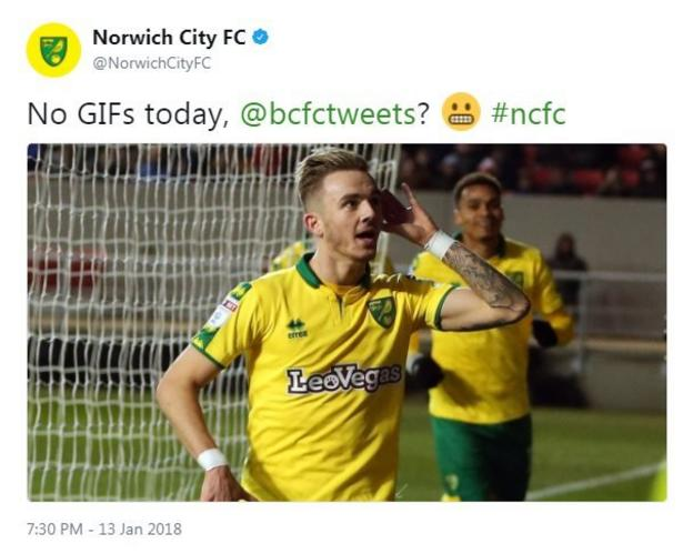 Norwich score against Bristol City and their twitter account trolls Bristol's over it's lack of gifs