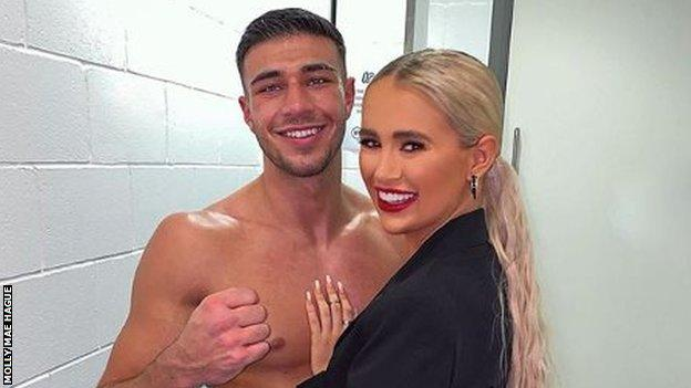 """Fury's partner Molly-Mae Hague shared an Instagram post after his win with the caption """"my champ"""""""