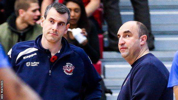 England head coach Andreas Kapoulas and Glasgow Rocks' Tony Garbelotto