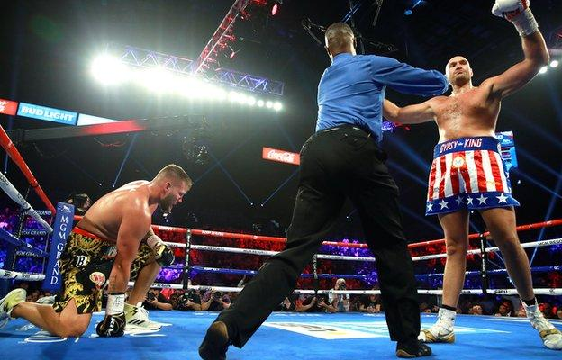 Tom Schwarz after being knocked down by Tyson Fury