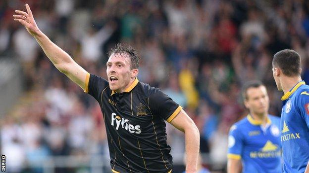 David McMillan celebrates after scoring his first goal in Tuesday's win